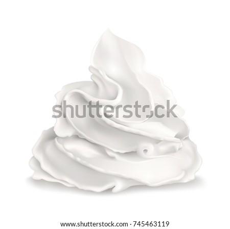 Whipped cream. Vector illustration.