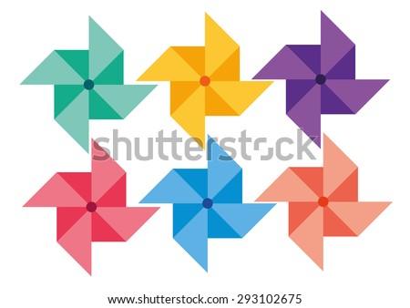 whirligig color set vector