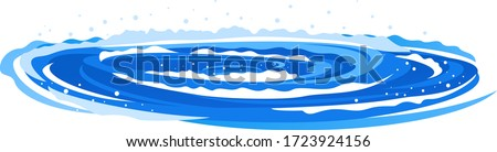 Whirlpool with spiral twists on water in side view isolated illustration, powerful whirlpool waves with splashes and foam in blue water, dangerous nature phenomenon Stock photo ©