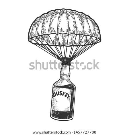 whiskey alcohol bottle with ice