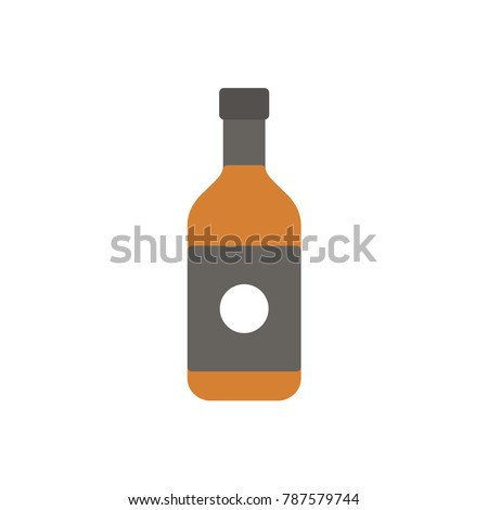 whiskey bottle beverage flat