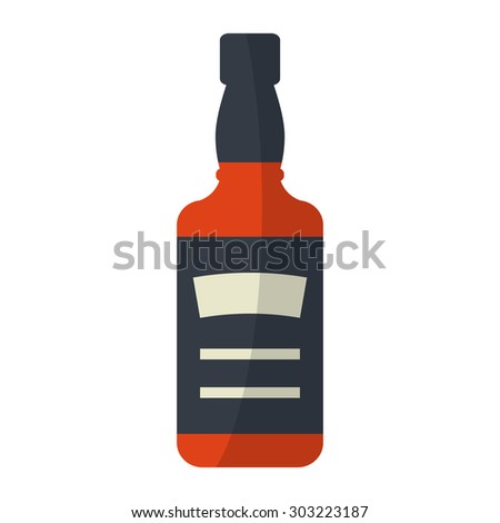 whiskey bottle  square flat