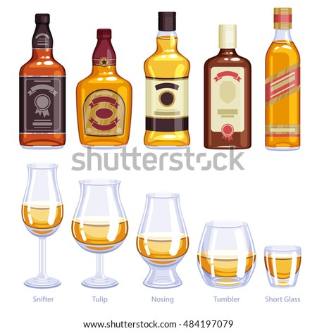 Whiskey bottles and glasses icons set. Alcohol vector illustration. Snifter, tulip, nosing, tumbler, short glasses