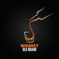 whiskey glass bottle shot splash design menu background