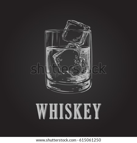 Whiskey Glass Hand Drawn Drink Vector Illustration