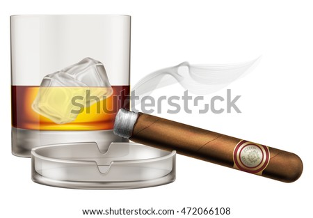 Whiskey glass with cigar and ashtray. Vector illustration.