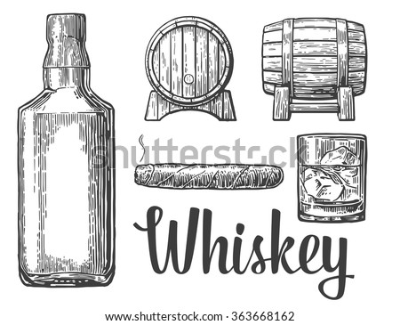 Whiskey Glass With Ice Cubes Barrel Bottle Cigar Engraving Vintage Vector Black