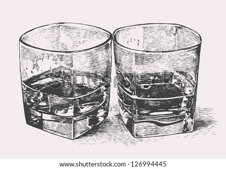 Whiskey in two glasses. engraved retro style. vector illustration