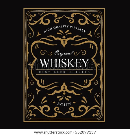 Whiskey label Vintage frame border antique engraving western retro vector illustration
