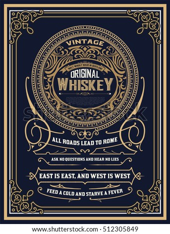 Whiskey label with old frames