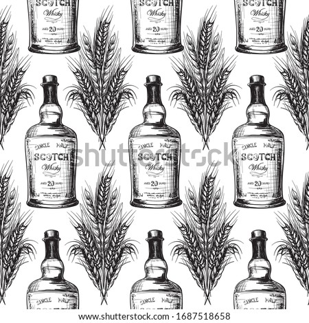 Whiskey making process from grain to bottle. Scotch whiskey bottle with some barley ears and grains. Seamless pattern. Sketch style drawing isolated on white background EPS10 vector illustration. ストックフォト ©