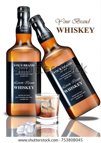 whiskey realistic bottle vector