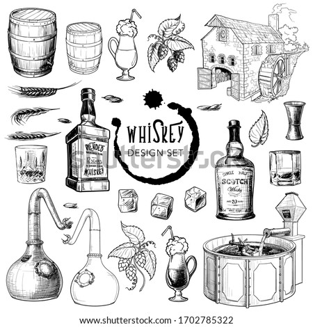 Whiskey related design elements set. Useful for bar pub or distillery branding and decoration. Hand drawn sketch style objects isolated on white background. EPS10 vector illustration Foto stock ©