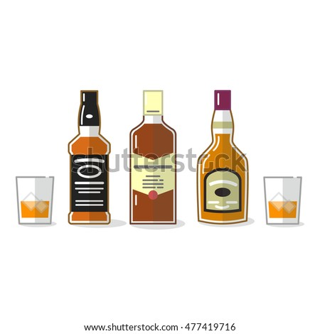 Whiskey vector icons set. Beverages and alcohol drinks.