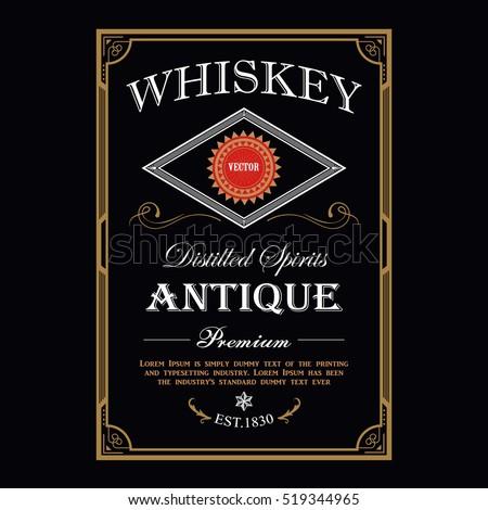 Whiskey Vintage border antique frame engraving western label retro vector illustration
