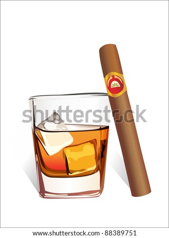 Whiskey with ice cubes and cigar, isolated on white background. Vector