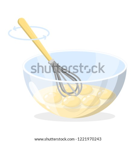 Whisking egg yolk in the bowl made of glass. Cooking breakfast in the kitchen concept. Healthy natural food recipe. Mixing yellow egg. Isolated flat vector illustration
