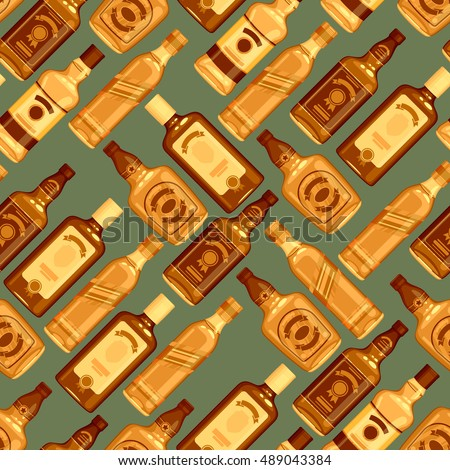 whisky bottles seamless pattern