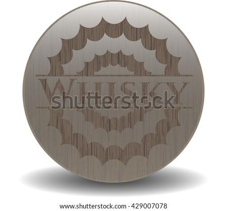 Whisky wooden emblem. Vintage.
