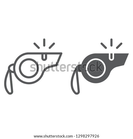 Whistle line and glyph icon, equipment and tool, blower sign, vector graphics, a linear pattern on a white background.