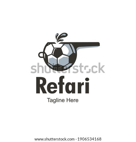 Whistle Logo Design Template-Football Referee. Icon of the whistle on lace. Referee whistle illustration isolated on white background. Referee whistle object for labels, logos.