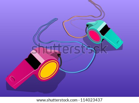 Whistles, vector illustration - stock vector