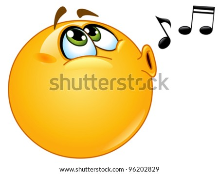 stock vector : Whistling emoticon
