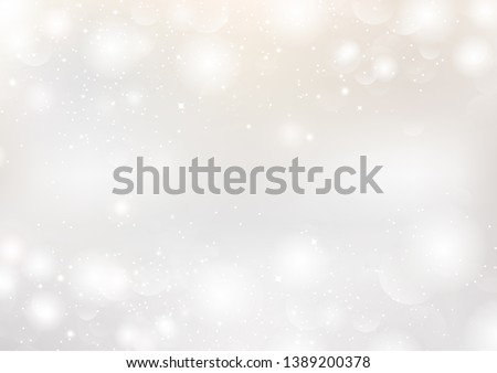 White abstract background, Bokeh stars blurry with gold magic glitter fantasy seasonal holiday celebration vector