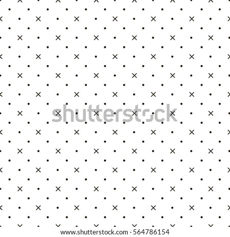 White abstract background with seamless random dark crosses, dots.