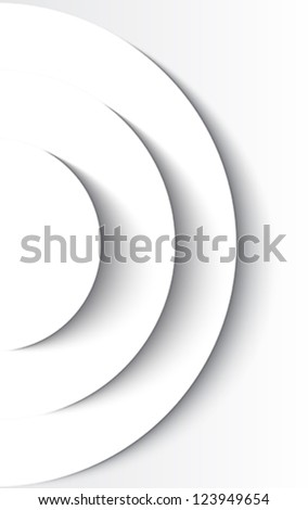 White abstract circles with drop shadow background. Vector illustration