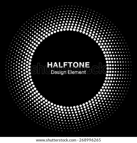White Abstract Halftone Circle Logo Design Element, vector illustration
