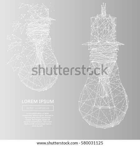 White abstract lamp bulb polygonal, geometry triangle. Light connection structure of coin. Low poly vector on gray background. Connection structure
