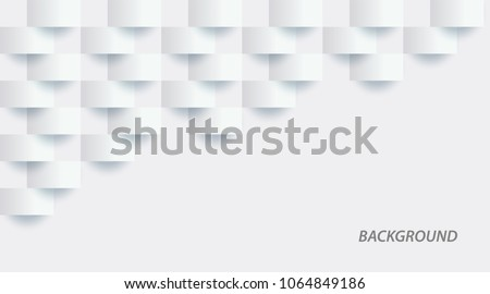 White abstract texture. Vector background 3d paper art style can be used in cover design, book design, poster, cd cover, flyer, website backgrounds or advertising. #1064849186