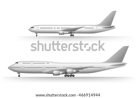 White air plane icon set on a white background in profile isolated. Vector illustration high detailed Jet commercial airplane. Aircraft Concept Travel Passenger planes set.