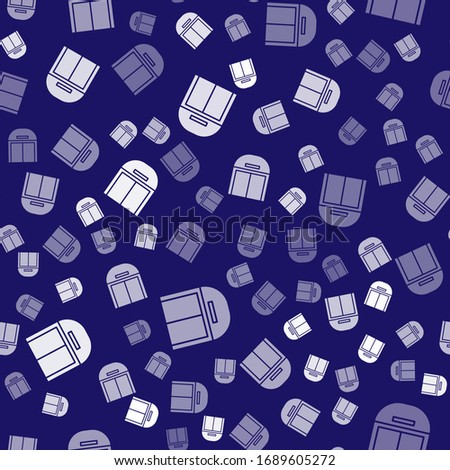 White Aircraft hangar icon isolated seamless pattern on blue background.  Vector Illustration