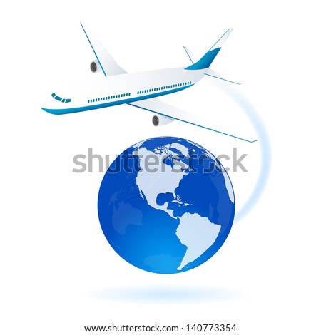 White airplane flying around the World, illustration.