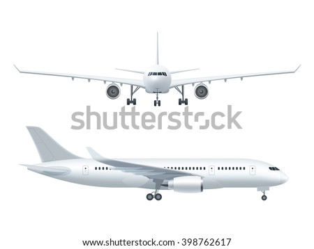 white airplane icon set  on a...