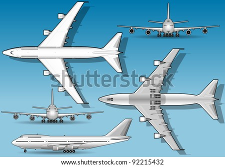 White airplane in five orthogonal position - stock vector