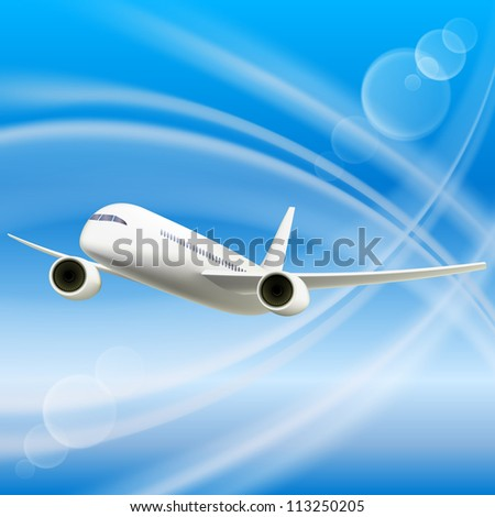 White Airplane in sky. Cool Vector illustration
