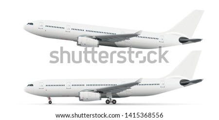 white airplane in two positions with landing gear and takeoff Stock photo ©