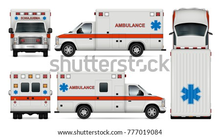 White ambulance car vector mock-up. Isolated medical van template on white background. All layers and groups well organized for easy editing and recolor. View from side, front, back and top.