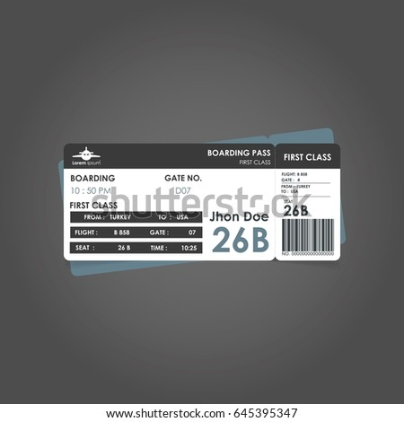 White and black and grey boarding pass. Airline boarding pass ticket for traveling by plane. concept of travel, journey or business with bar code. Vector illustration Photo stock ©