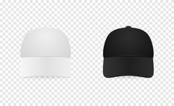 White and black baseball cap icon set. Front view. Design template closeup in vector. Mock-up for branding and advertise isolated on transparent background.