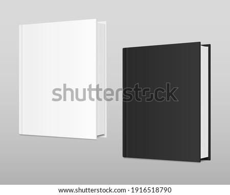 White and black books Mockup. Vector realistic empty Template. Standing closed books with hardcover. Magazine, album, catalog. 3d vector illustration. EPS10. ストックフォト ©