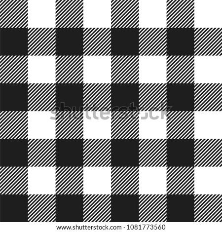 White and Black Buffalo Check Plaid Seamless Pattern - Classic style white and black buffalo check flannel plaid seamless pattern