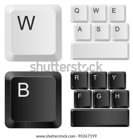White and black computer keys. Illustration on white background