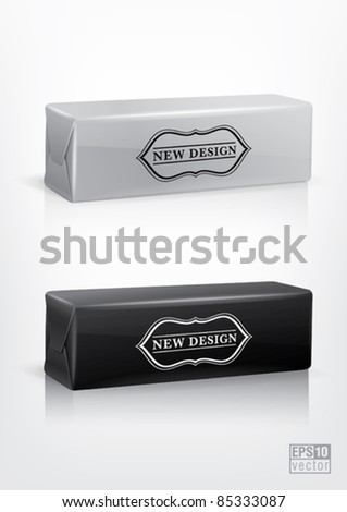 White and black cookie package for new design. Eps10 vector
