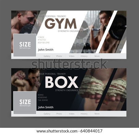 White and black cover design for social networks. Universal Advertising template banner  with diagonal elements for the image of the gym, sports. Blurred photo for sample #640844017