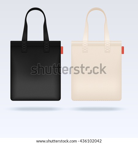 White and black fabric cloth tote bags vector mockup. Realistic illustration bag, mockup of shopping bag
