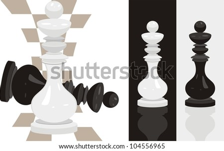 White and black king chess. Vector